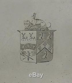 Plateau À Thé En Argent Américain Whippet & Shield Coat Arms 28