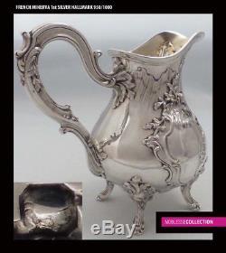 Puiforcat Antique 1880s Français Sterling Argent Thé Pot Sucre Bowl Creamer Set