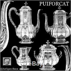 Puiforcat Français En Argent Sterling 18k Or Thé, Café Ensemble 4 Pc, Regency