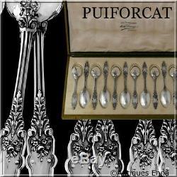Puiforcat Rare Français Café En Argent Sterling Thé Dessert Set 12 Pc Boîte, Acanthus