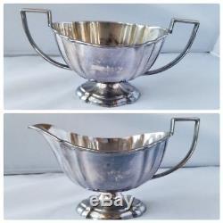Rare Antique Sheffield Angleterre Crafton Silver Tea Set Plateau De Thé 6 Pièces