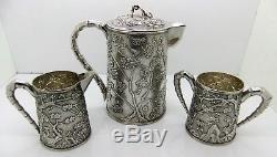 Rare Chinese Export Silver Ensemble De 3 Pièces Prunus Et 'cracked Ice'. Signé 1900