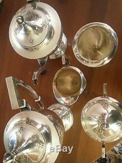 Rare Ensemble De Thé En Argent Sterling International Coffee 5-piece Repuse Chaised