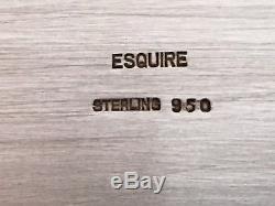Rare Esquire 950 Sterling 28 Ensemble De Plateaux De Plat De Plateau De Thé / Café Lourd Orné