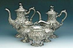 Rare Stieff Rose Sterling Silver 5 Pièces Set Café / Thé, Pleine Chased Série 1100
