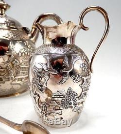 Rare Thin D'argent Massif Chinois Ensemble De Thé Argenté T. Smily Pour Elkington 1868