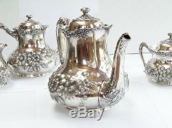 Reed & Barton Silverplate Superbe Motif Floral # 3518 4pc Café Et Thé Set