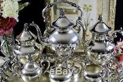 Service À Café Et À Thé 7 Pièces Birmingham Silverplate Avec Bouilloire À Eau Inclinable