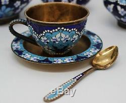 Service À Café Ou À Thé En Argent Massif Émaillé, Russie, Xxe Siècle -22 Pièces