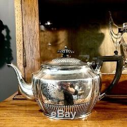 Service À Thé Antique Edwardian Solid Silver De H. S LD Henry Stratford