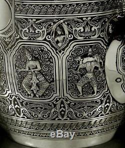 Service À Thé Écossais En Argent Sterling 1881, Goût Indien Zodiac