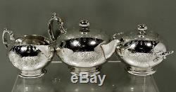 Service À Thé En Argent Sterling Tiffany C1865 Ère De Guerre Civile Gravée À La Main
