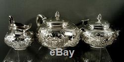 Service À Thé En Argent Sterling Tiffany C1875 Lierre Surélevé, Rare