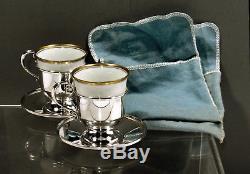 Service À Thé Fisher Sterling 2 Tasses Et Soucoupes Et Doublures Cartier Pouches