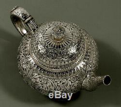 Service À Thé Whiting Sterling C1890 Persian Pat. 412 Pas De Monogramme