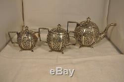 Service Le Massif Ancien Argent Antique Argent Massif Set Anglo Indian Tea