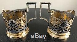 Set 6 Russe Solid Gold Vermeil Niello Porte-verre Émail Thé