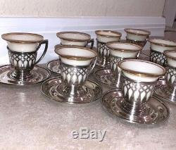 Set 9 Vintage Fp Argent Sterling Demitasse Coupe Saucer Tea Espresso Lenox Liner