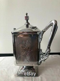 Set Antique Tea Coffee Pot Wilcox Quadruple Plaque Argent Floral Design
