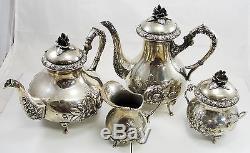 Set De 4 Caves À Thé En Argent Sterling Vintage Handarbeit Allemagne Design