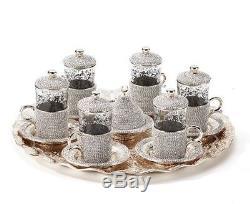 Set De Service À Thé Turc Swarovski Coated Handmade Copper