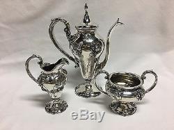 Shreve Art Nouveau Argent Sterling 3 Pièces Demitasse / Set De Thé Water Lily