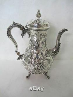 Splendide 19e Cents. Special Pour Son Et Kirk Sterling Repousse 6 Tea Piece Set