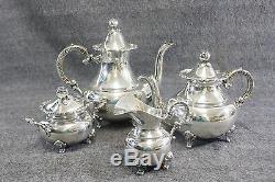 Sterling Antique. 925 4 Pièces Thé / Café Set Handerbeit 4 Lbs 7 Oz