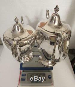 Sterling Silver 4 Pc F. B. Rogers Café Et Thé Pots Creamer & Sugar Set 1480 G