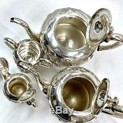 Sterling Silver 950 4 Pc Élégant Art Déco Café Et À Thé