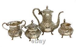 Sterling Silver Repousse 4 Piece Coffee Service À Thé. Floral Designs