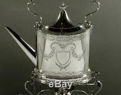 Sterling Silver Tea Set Bouilloire Et Support Géorgien 64 Onces