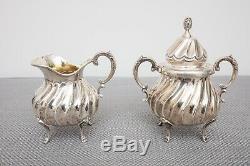 Sterling Silver Vintage Tea Set Théière, Cafetière, Sucre, Creamer, Plateau, 3705g