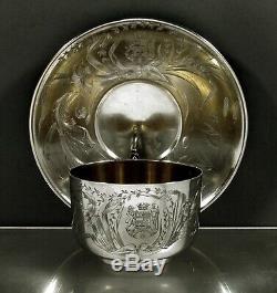 Sterling Tea Français Set Cup & Saucer C1895 Edouard Clerc