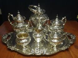 Superbe Gorham Sterling Silver 7 Pc. Service À Café / Thé Ensemble Chantilly Countess
