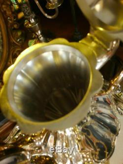 Thé Vintage Vaisselle En Argent Coffret 4-pièces Pot Bois Pot De Sucre Pot À Lait