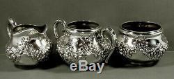 Theodore Starr Sterling Tea Set C1910 Décorés Main