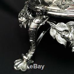 Tiffany & Co. Grosjean & 3pc Woodward. Bouilloire À Thé En Argent Sterling Ca 1854