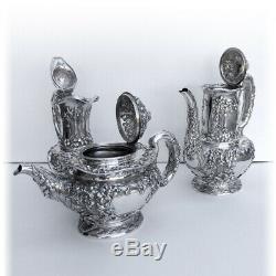 Tiffany Co Violet Repousse 8 Piece Plateau En Argent Sterling 1895 Set