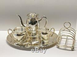 Très Rare Canadien Pacifique Chemin De Fer Cpr Elkington & Co Argent Plate Tea Set