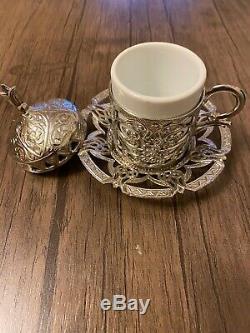 Turc Ottoman En Métal Café Thé Soucoupes Coupes Plateau Set Uk Seller