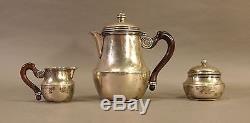 Vintage 1930's Modernist Heavy Sterling Silver Bachelor Set De Thé Poignées En Bois Ec