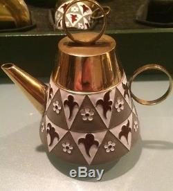Vintage 1960 'russian Silver 916 Émaillé Soviétique Tea Set Original Box 954 Gr