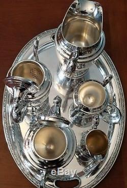 Vintage Alvin Chased Romantique En Argent Sterling 7pc Café Et Thé Ensemble De Pot 3174g