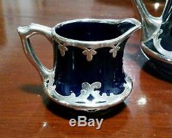 Vintage Antique 1909 Lenox 3pc Ensemble De Thé Cobalt Bleu Et Silver Overlay Art Nouveau