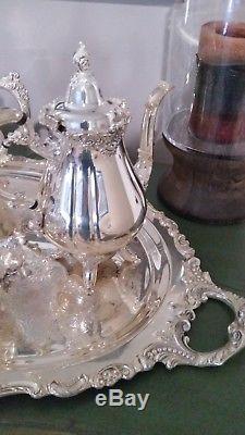 Vintage Baroque Par Wallace Silverplate 7 Pc Café / Thé Set & Grand Plateau