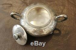 Vintage E. G. Webster Spiderweb Plaque Quadruple 5 Piece Tea Set # 135