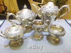 Vintage Hallmarked 5 Pièces En Argent Sterling Théière À Café En Porcelaine