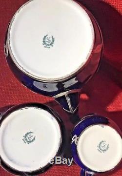 Vintage Lenox Cobalt Blue Et Sterling Argent Complet 3 Pièces Tea Set