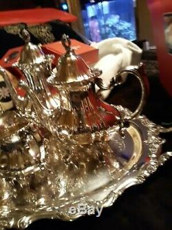 Vintage Poole Argent Co. Lancaster Silver Rose Ensemble De Service Et Grand Butlers Plateau